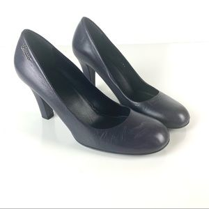Gucci Classic Leather Round Toe Pumps Purple